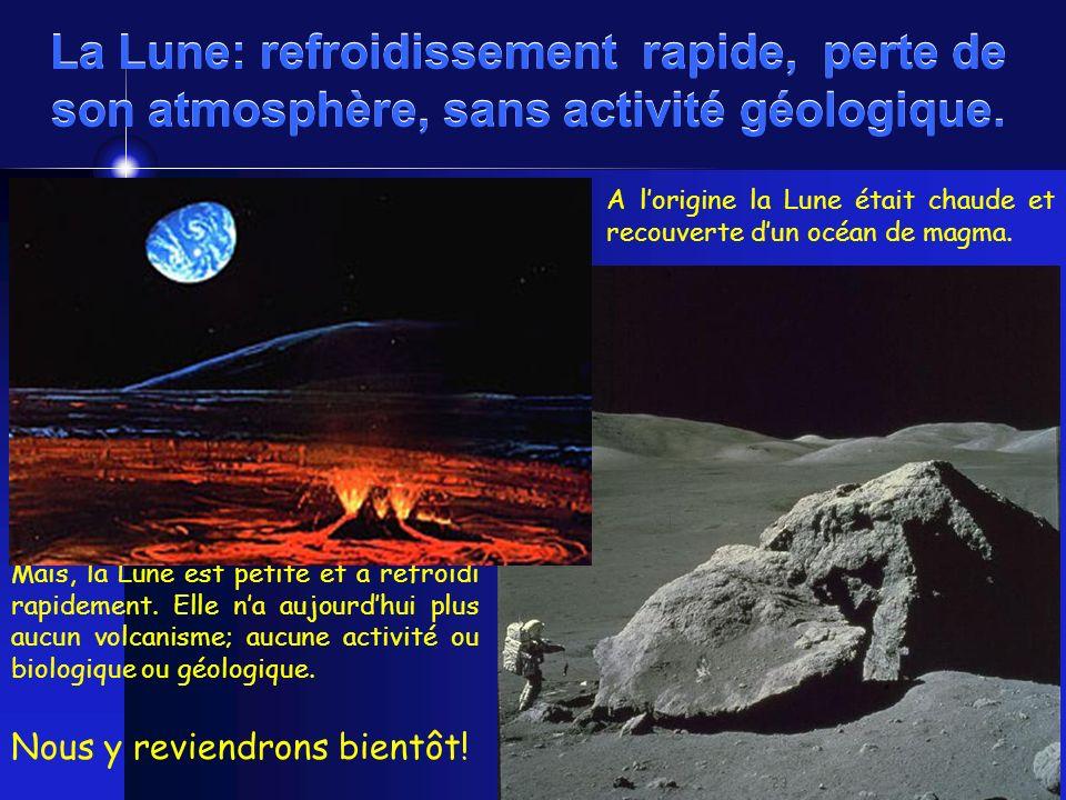La Lune: refroidissement rapide, perte de son atmosphère, sans activité géologique. A lorigine la Lune était chaude et recouverte dun océan de magma.