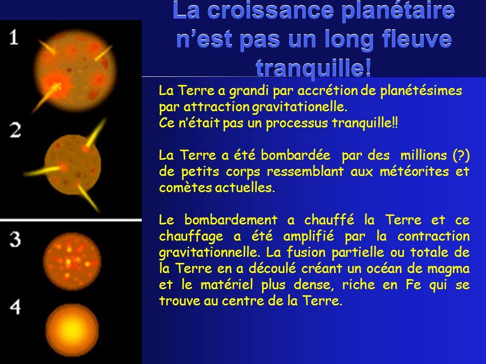 La Terre a grandi par accrétion de planétésimes par attraction gravitationelle. Ce nétait pas un processus tranquille!! La Terre a été bombardée par d