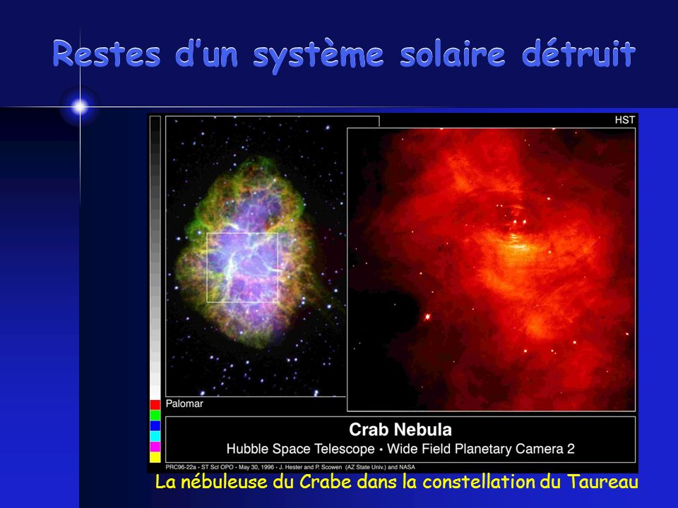 Restes dun système solaire détruit La nébuleuse du Crabe dans la constellation du Taureau