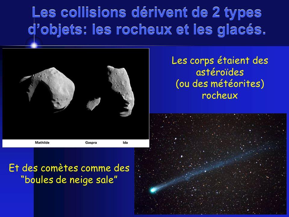 Les collisions dérivent de 2 types dobjets: les rocheux et les glacés. Les corps étaient des astéroïdes (ou des météorites) rocheux Et des comètes com