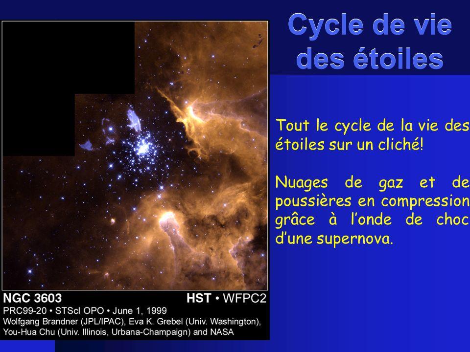 Tout le cycle de la vie des étoiles sur un cliché! Nuages de gaz et de poussières en compression grâce à londe de choc dune supernova. Cycle de vie de