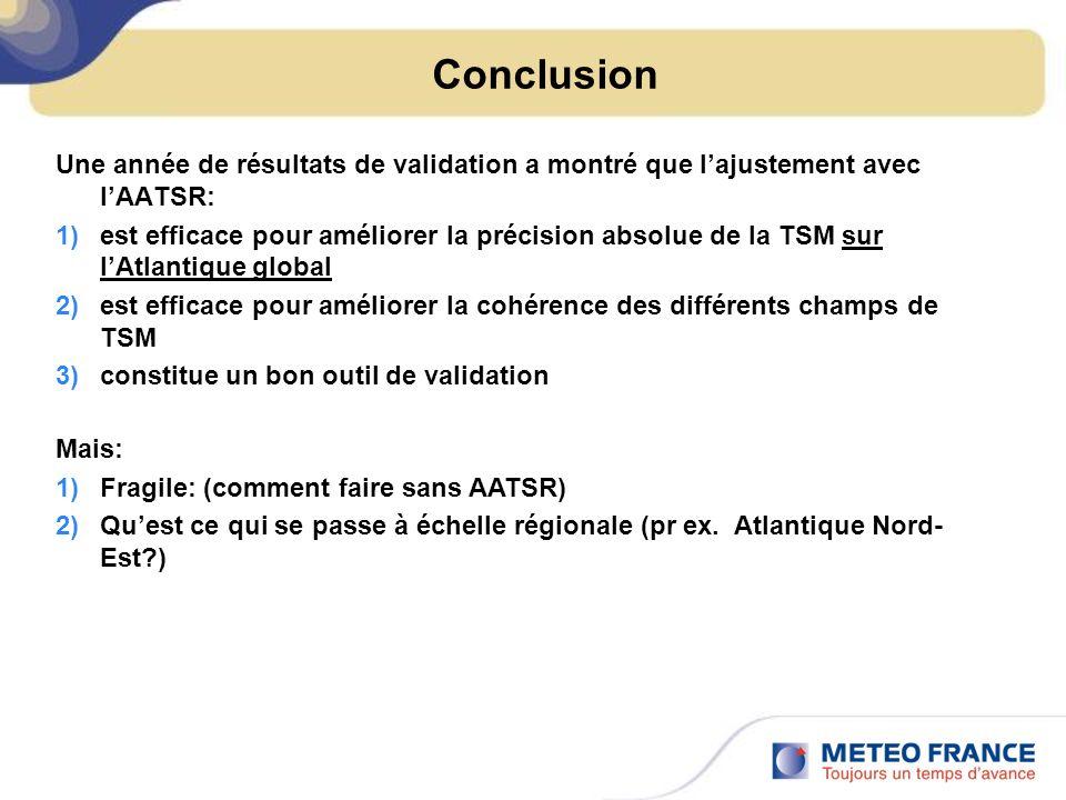 Conclusion Une année de résultats de validation a montré que lajustement avec lAATSR: 1)est efficace pour améliorer la précision absolue de la TSM sur