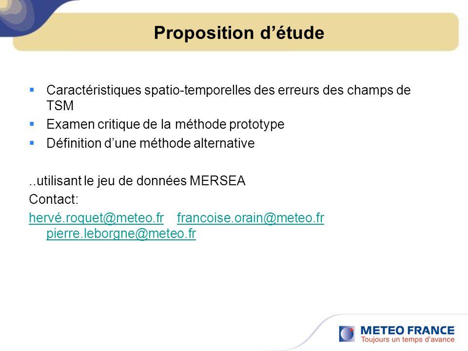 Proposition détude Caractéristiques spatio-temporelles des erreurs des champs de TSM Examen critique de la méthode prototype Définition dune méthode a
