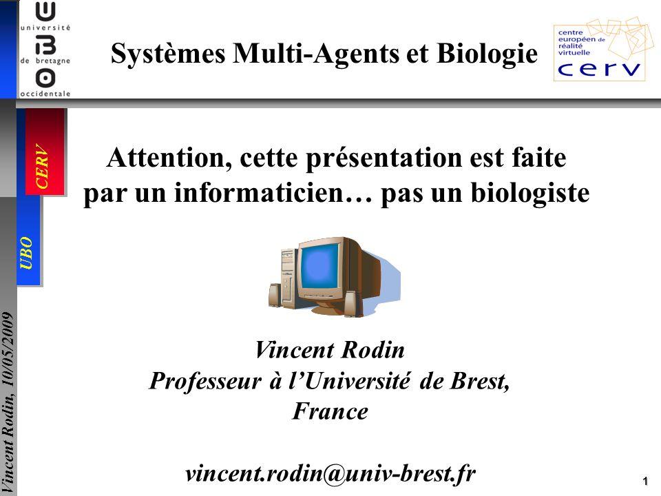 22 UBO CERV Vincent Rodin, 10/05/2009 VIIIa + IXa -> VIIIa-IXa VIIIa-IXa + X -> VIIIa-IXa + Xa Va-Xa + II -> Va-Xa + IIa AT3 + (IXa, Xa, XIa, IIa) -> 0 alpha2M + IIa -> 0 I + IIa -> Ia + IIa TM (endo cell) + IIa -> IIi AT3(endo cell) + (IXa, Xa, XIa, IIa) -> 0 ProC + IIi -> PCa + IIi PCa + Va -> 0 PCa + Va-Xa -> Xa PCa + PS -> PCa-S PCa + PCI -> 0 PCaS + Va -> 0 PCaS + V -> PCa-S-V PCa-S-V + VIIIa-IXa -> IXa PCa-S-V + VIIIa -> 0 Fibroblaste + VIIa -> VII-TF VII + VIIa -> VIIa + VIIa VII + VII-TF -> VIIa + VII-TF IX + VII-TF -> IXa + VII-TF X + VII-TF -> Xa + VII-TF TFPI + Xa -> TFPI-Xa TFPI-Xa + VII-TF -> 0 VII + IXa -> VIIa + IXa IXa + X -> IXa + Xa II + Xa -> IIa + Xa XIa + IX -> XIa + IXa XIa + XI -> XIa + XIa IIa + XIa -> IIa + XIa IIa + VIII -> IIa + VIIIa IIa + V -> IIa + Va Xa + V -> Xa + Va Xa + VIII -> Xa + VIIIa Xa + Va -> Va-Xa Exemple dapplication du modèle dagent-réaction ½ secondes Génération de thrombine Génération de thrombine Coagulation normale Hémophile B + NovoSeven Temps en Coagulation normale Hémophile B Hémophile A Temps en Simulation de la coagulation: patient sain, hémophile, hémophile avec traitement 42 réactions