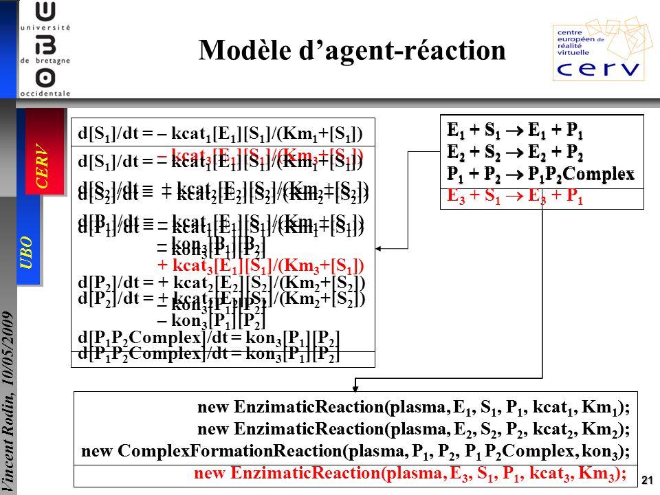 21 UBO CERV Vincent Rodin, 10/05/2009 new EnzimaticReaction(plasma, E 1, S 1, P 1, kcat 1, Km 1 ); new EnzimaticReaction(plasma, E 2, S 2, P 2, kcat 2
