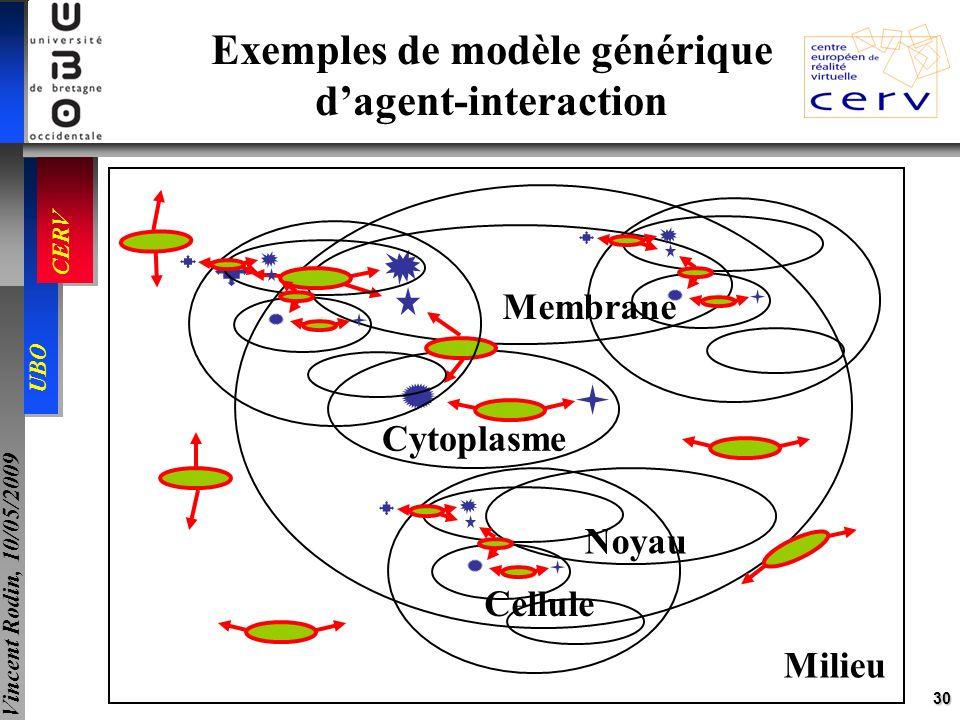 30 UBO CERV Vincent Rodin, 10/05/2009 Exemples de modèle générique dagent-interaction Cellule Noyau Cytoplasme Membrane Milieu
