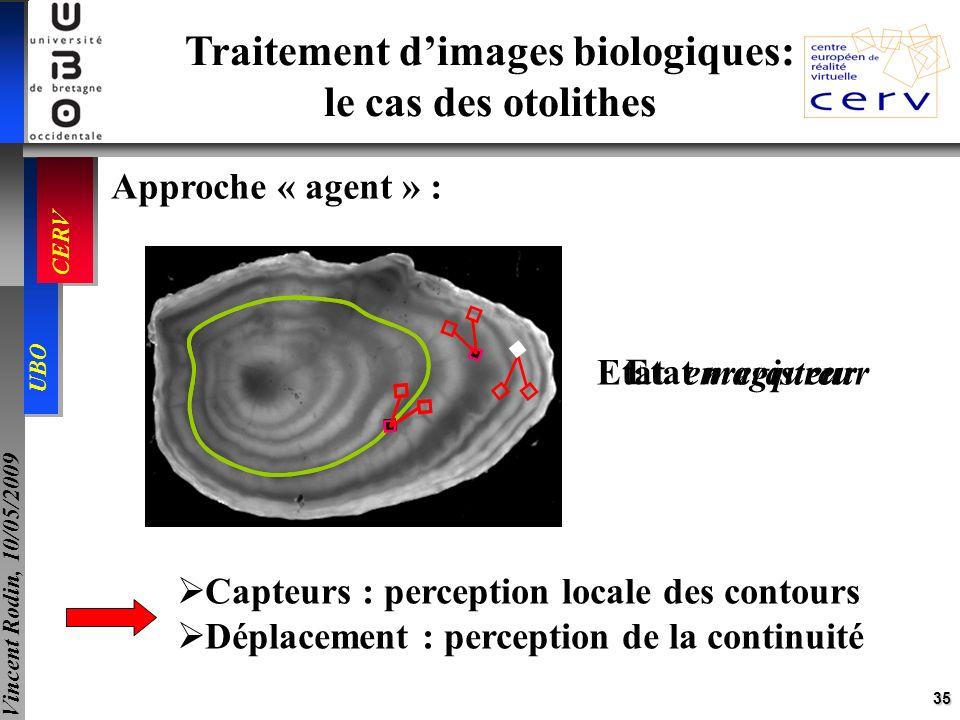 35 UBO CERV Vincent Rodin, 10/05/2009 Traitement dimages biologiques: le cas des otolithes Approche « agent » : Etat marqueur Etat enregistreur Capteu