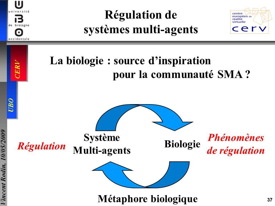 37 UBO CERV Vincent Rodin, 10/05/2009 Régulation de systèmes multi-agents La biologie : source dinspiration pour la communauté SMA ? Système Multi-age
