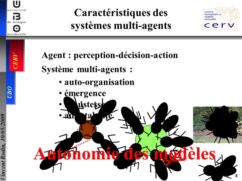 4 UBO CERV Vincent Rodin, 10/05/2009 Agent : perception-décision-action Système multi-agents : auto-organisation robustesse adaptabilité émergence Car