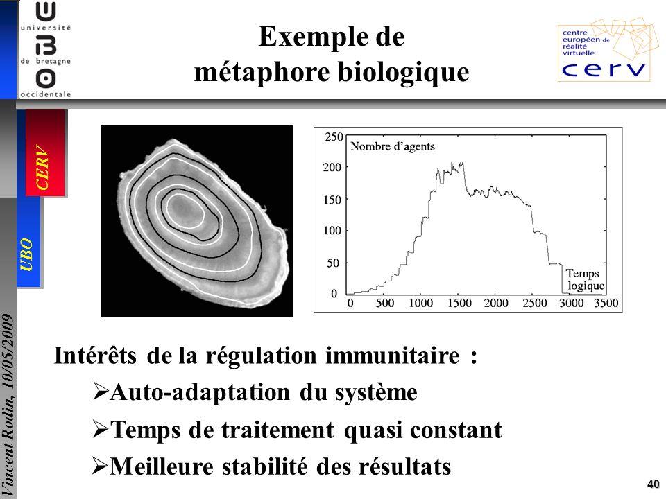 40 UBO CERV Vincent Rodin, 10/05/2009 Exemple de métaphore biologique Intérêts de la régulation immunitaire : Meilleure stabilité des résultats Auto-a