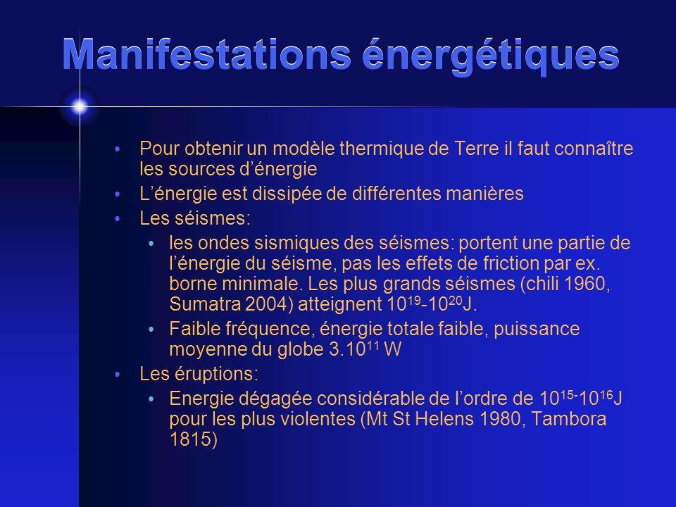 Manifestations énergétiques Pour obtenir un modèle thermique de Terre il faut connaître les sources dénergie Lénergie est dissipée de différentes mani
