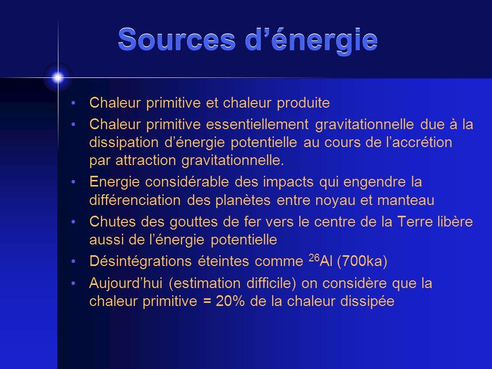 Sources dénergie 80%: désintégration radioactive de 3 éléments: U, Th et K dans la croûte et le manteau 238 U(4,5 10 9 a) et 235 U (710 10 6 a) produisent ~ 10 13 W (chaînes de désintégration) 232 Th (14 10 9 a) ~10 13 W aussi (3 à 4 x plus abondant que U) (chaîne de désintégration) 40 K (1,3 10 9 a) ~0,4 10 13 W (abondant mais peu de chaleur par désintégration)