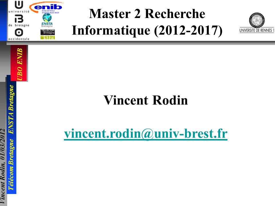 UBO ENIB Télécom Bretagne ENSTA Bretagne Vincent Rodin, 01/03/2012 Master 2 Recherche Informatique (2012-2017) Vincent Rodin vincent.rodin@univ-brest.