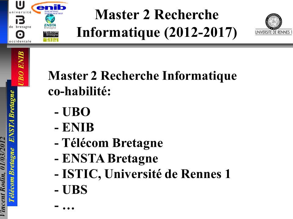 UBO ENIB Télécom Bretagne ENSTA Bretagne Vincent Rodin, 01/03/2012 Master 2 Recherche Informatique (2012-2017) Master 2 Recherche Informatique co-habi