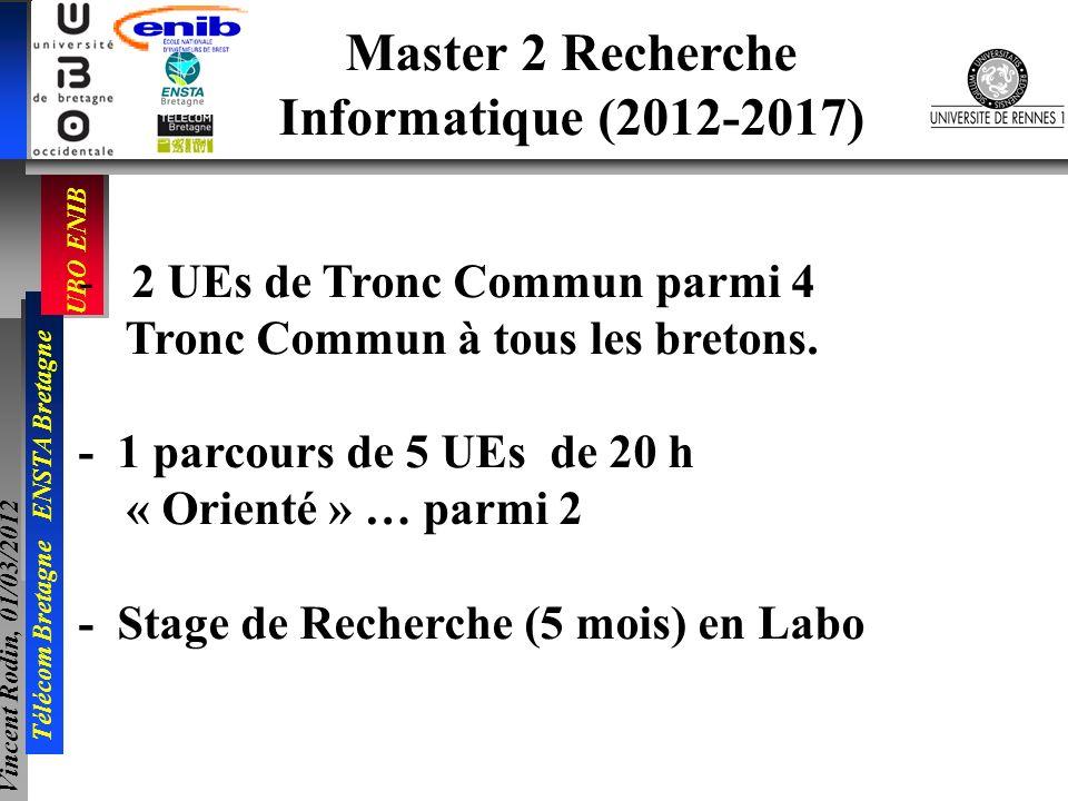 UBO ENIB Télécom Bretagne ENSTA Bretagne Vincent Rodin, 01/03/2012 Master 2 Recherche Informatique (2012-2017) -2 UEs de Tronc Commun parmi 4 Tronc Co