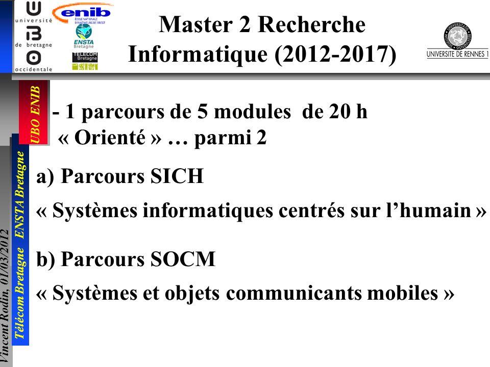 UBO ENIB Télécom Bretagne ENSTA Bretagne Vincent Rodin, 01/03/2012 - 1 parcours de 5 modules de 20 h « Orienté » … parmi 2 a)Parcours SICH « Systèmes