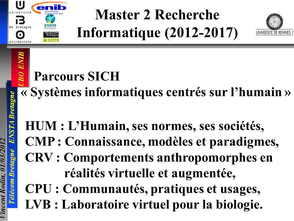UBO ENIB Télécom Bretagne ENSTA Bretagne Vincent Rodin, 01/03/2012 Master 2 Recherche Informatique (2012-2017) Parcours SICH « Systèmes informatiques