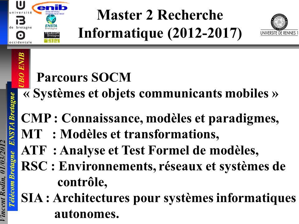 UBO ENIB Télécom Bretagne ENSTA Bretagne Vincent Rodin, 01/03/2012 Master 2 Recherche Informatique (2012-2017) Parcours SOCM « Systèmes et objets comm