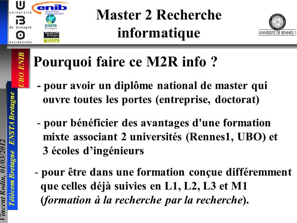 UBO ENIB Télécom Bretagne ENSTA Bretagne Vincent Rodin, 01/03/2012 Master 2 Recherche informatique Pourquoi faire ce M2R info ? - pour avoir un diplôm