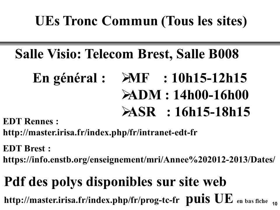 10 UEs Tronc Commun (Tous les sites) MF : 10h15-12h15 ADM : 14h00-16h00 ASR : 16h15-18h15 Salle Visio: Telecom Brest, Salle B008 Pdf des polys disponi