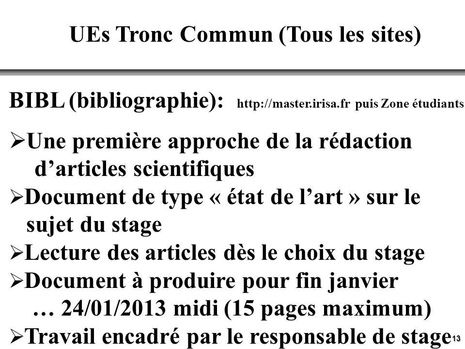 13 UEs Tronc Commun (Tous les sites) BIBL (bibliographie): http://master.irisa.fr puis Zone étudiants Une première approche de la rédaction darticles