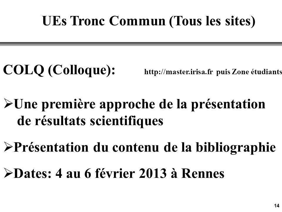 14 UEs Tronc Commun (Tous les sites) COLQ (Colloque): http://master.irisa.fr puis Zone étudiants Une première approche de la présentation de résultats scientifiques Présentation du contenu de la bibliographie Dates: 4 au 6 février 2013 à Rennes