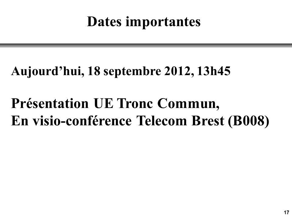 17 Dates importantes Aujourdhui, 18 septembre 2012, 13h45 Présentation UE Tronc Commun, En visio-conférence Telecom Brest (B008)