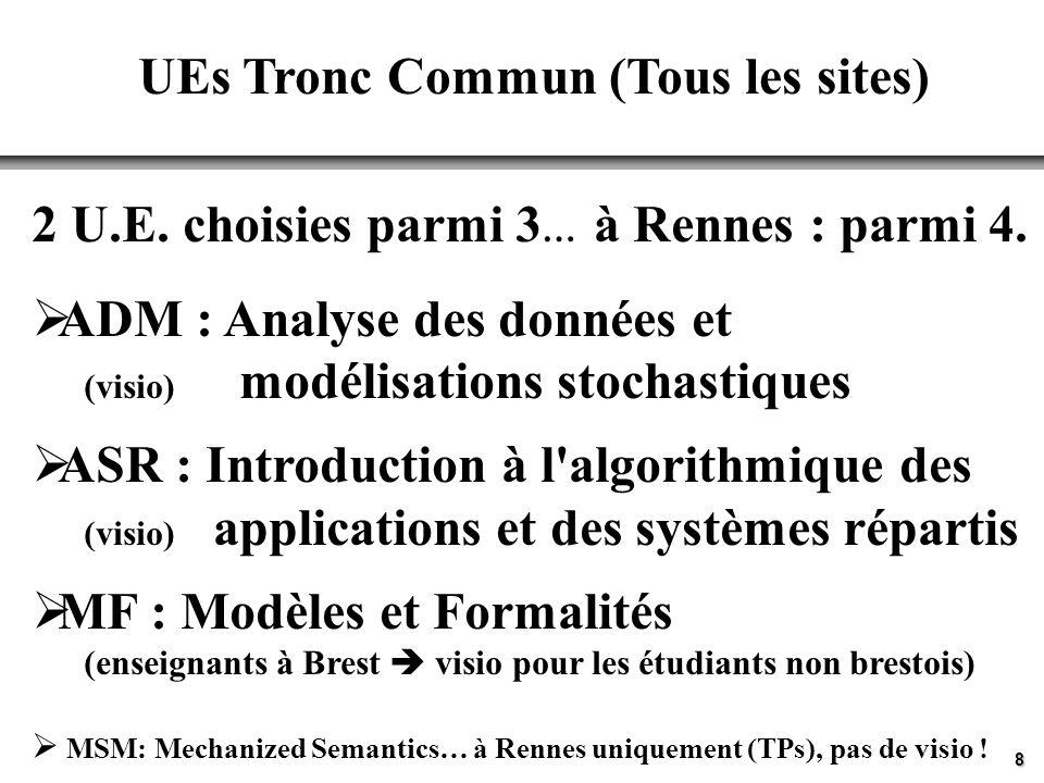 8 UEs Tronc Commun (Tous les sites) 2 U.E. choisies parmi 3 … à Rennes : parmi 4. ADM : Analyse des données et (visio) modélisations stochastiques ASR