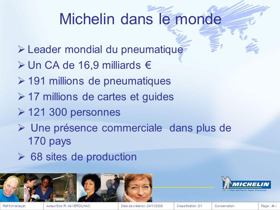 55 700 personnes Opérateurs : 64 % Femmes : 12 % Plus 30% ont plus de 50 ans 40 % en Espagne et en Allemagne 35 % en France 2% en Russie 12 % en Roumanie Quelques chiffres caractérisant Michelin en Europe Age moyen Europe de lOuest : 43,5 ans Europe de l Est : 38,6 ans