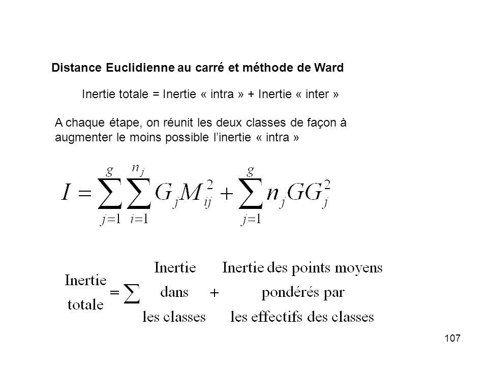 107 Distance Euclidienne au carré et méthode de Ward Inertie totale = Inertie « intra » + Inertie « inter » A chaque étape, on réunit les deux classes