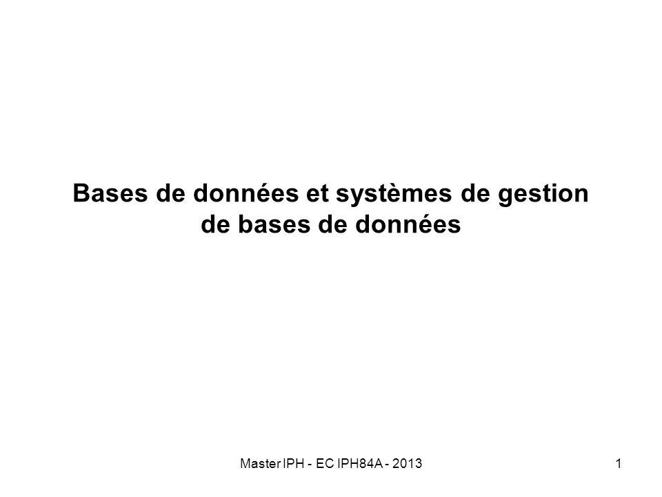 Master IPH - EC IPH84A - 20131 Bases de données et systèmes de gestion de bases de données