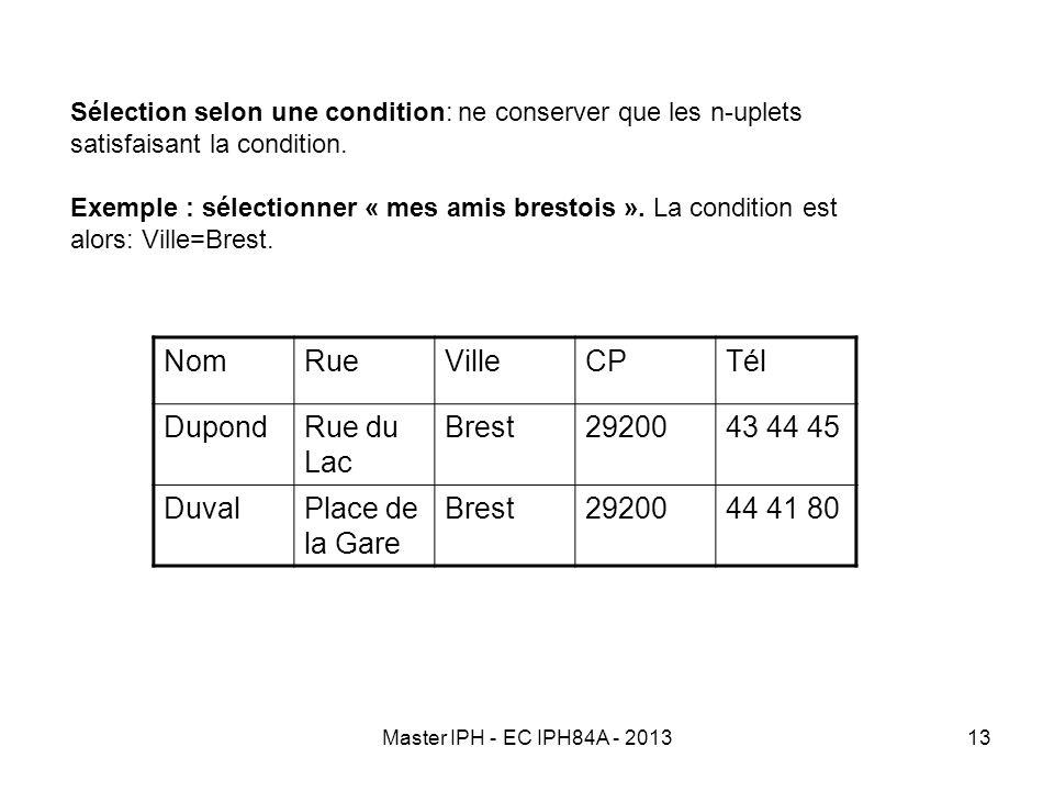 Master IPH - EC IPH84A - 201313 Sélection selon une condition: ne conserver que les n-uplets satisfaisant la condition. Exemple : sélectionner « mes a
