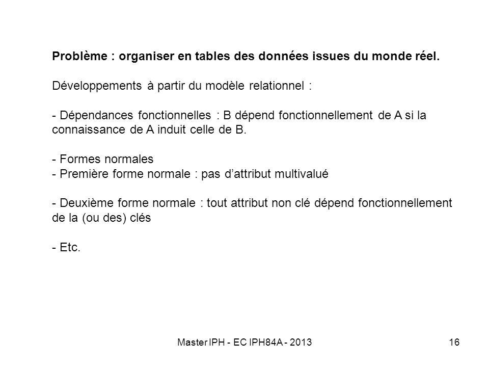 Master IPH - EC IPH84A - 201316 Problème : organiser en tables des données issues du monde réel. Développements à partir du modèle relationnel : - Dép