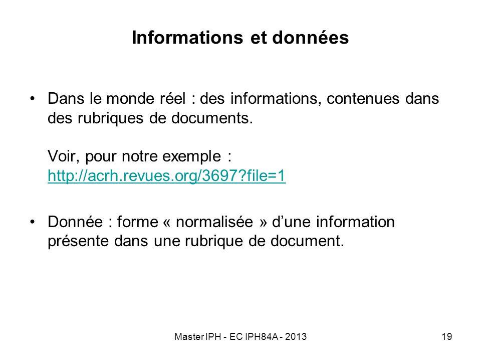Master IPH - EC IPH84A - 201319 Informations et données Dans le monde réel : des informations, contenues dans des rubriques de documents. Voir, pour n
