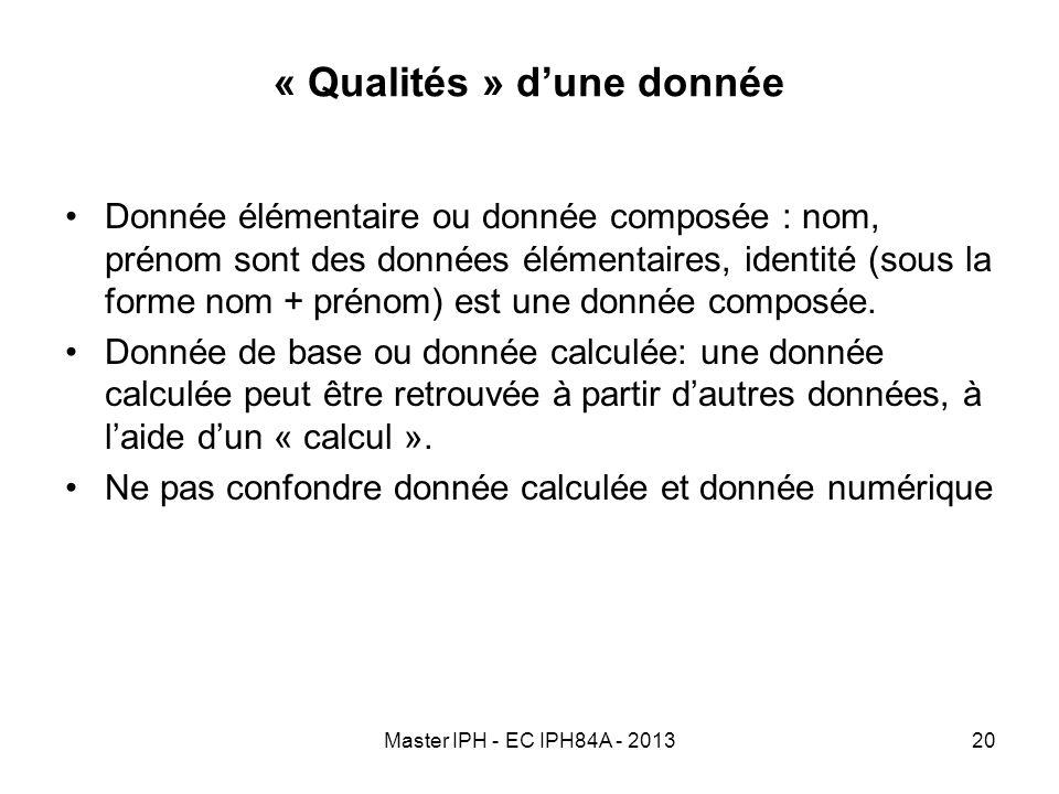Master IPH - EC IPH84A - 201320 « Qualités » dune donnée Donnée élémentaire ou donnée composée : nom, prénom sont des données élémentaires, identité (