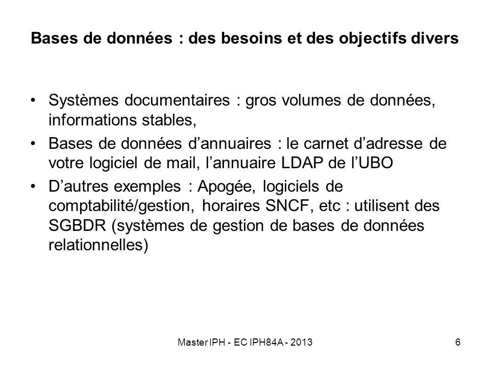 Master IPH - EC IPH84A - 20136 Bases de données : des besoins et des objectifs divers Systèmes documentaires : gros volumes de données, informations s