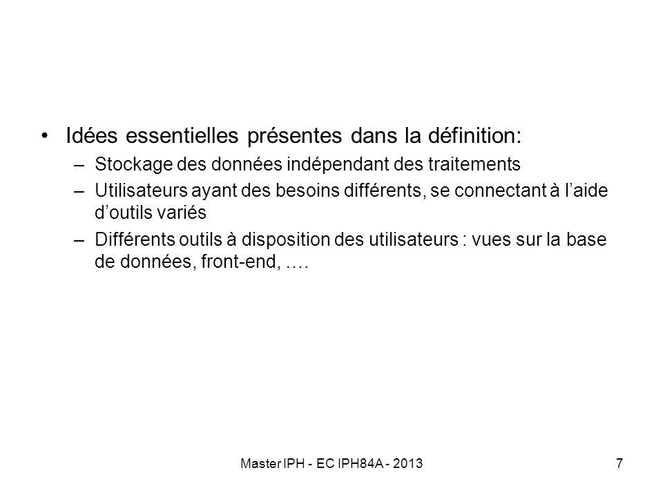Master IPH - EC IPH84A - 20137 Idées essentielles présentes dans la définition: –Stockage des données indépendant des traitements –Utilisateurs ayant