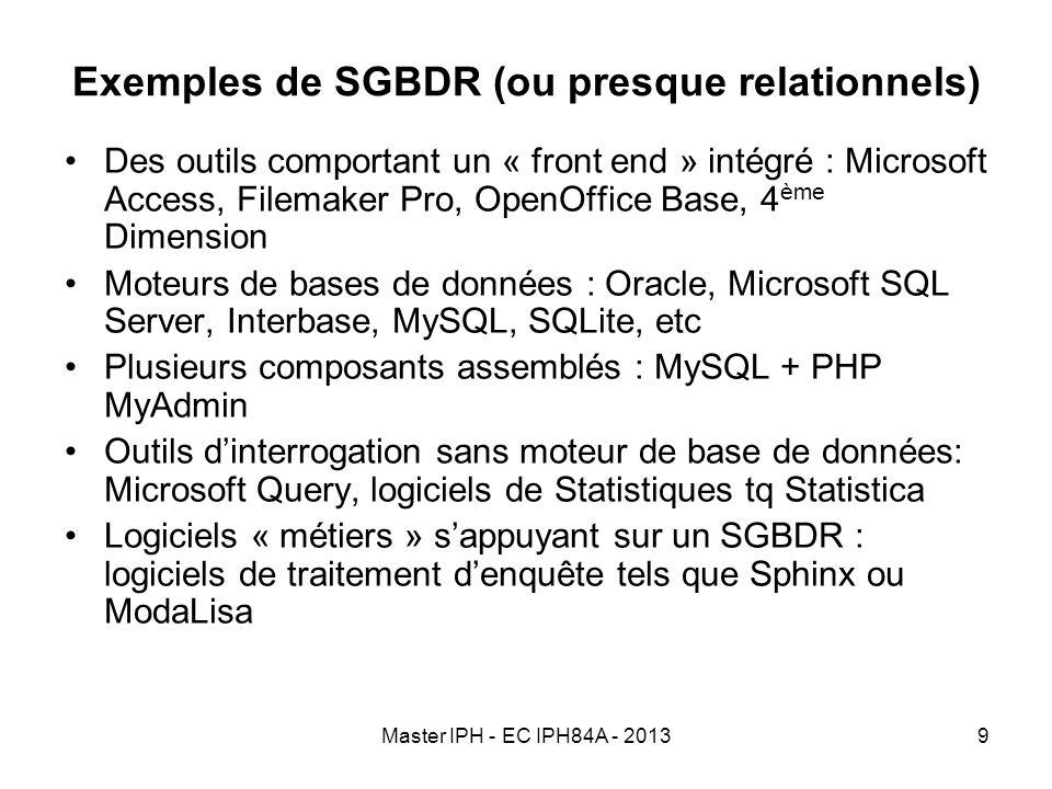 Master IPH - EC IPH84A - 20139 Exemples de SGBDR (ou presque relationnels) Des outils comportant un « front end » intégré : Microsoft Access, Filemake