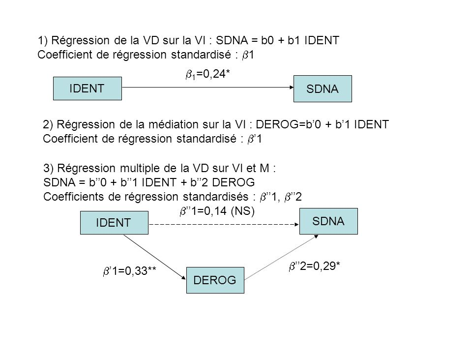 1) Régression de la VD sur la VI : SDNA = b0 + b1 IDENT Coefficient de régression standardisé : 1 2) Régression de la médiation sur la VI : DEROG=b0 +
