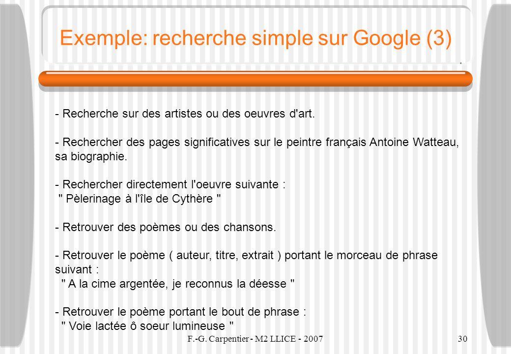 F.-G. Carpentier - M2 LLICE - 200730 Exemple: recherche simple sur Google (3) - Recherche sur des artistes ou des oeuvres d'art. - Rechercher des page