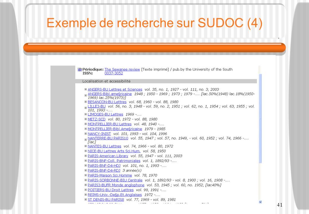 F.-G. Carpentier - M2 LLICE - 200741 Exemple de recherche sur SUDOC (4)