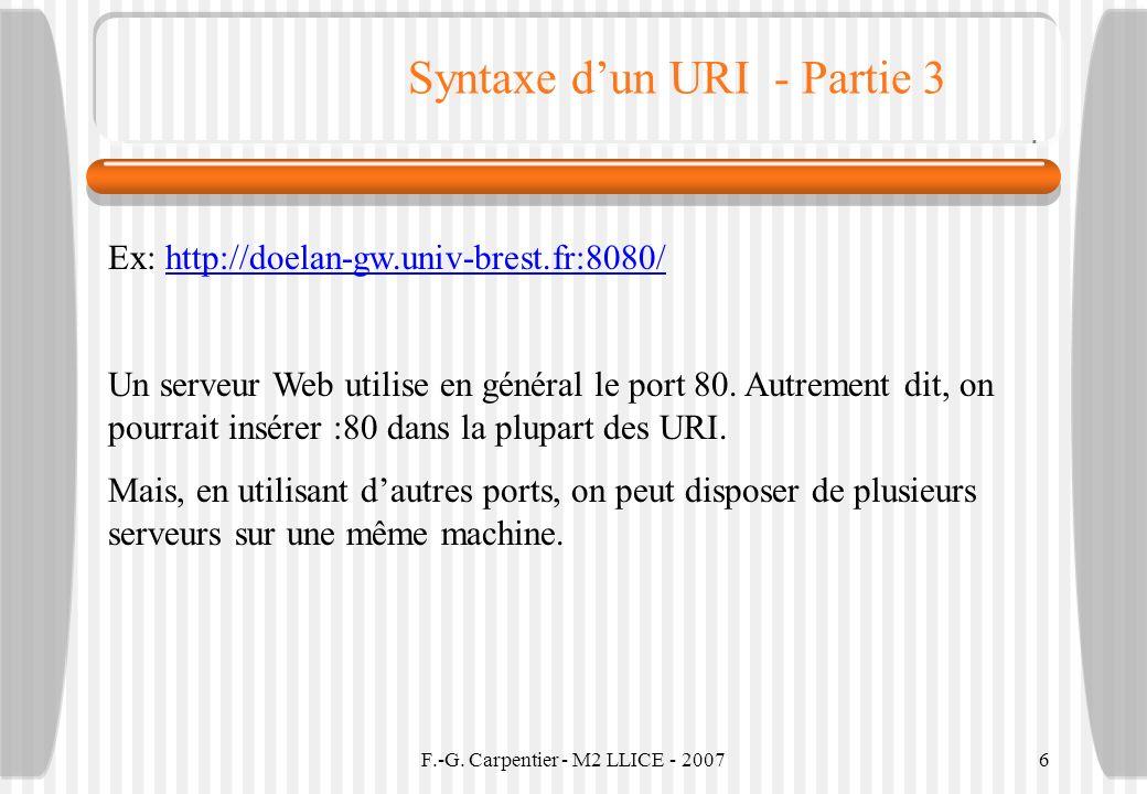 F.-G. Carpentier - M2 LLICE - 20076 Syntaxe dun URI - Partie 3 Ex: http://doelan-gw.univ-brest.fr:8080/http://doelan-gw.univ-brest.fr:8080/ Un serveur