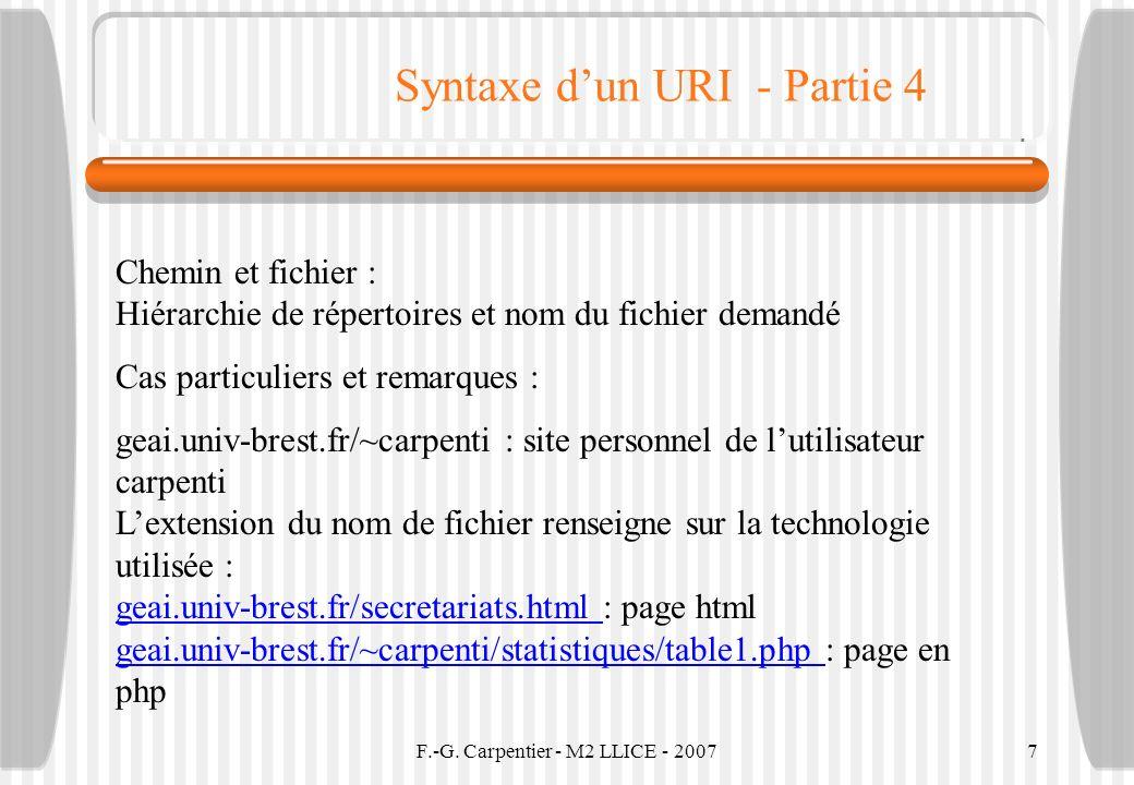 F.-G. Carpentier - M2 LLICE - 20077 Syntaxe dun URI - Partie 4 Chemin et fichier : Hiérarchie de répertoires et nom du fichier demandé Cas particulier