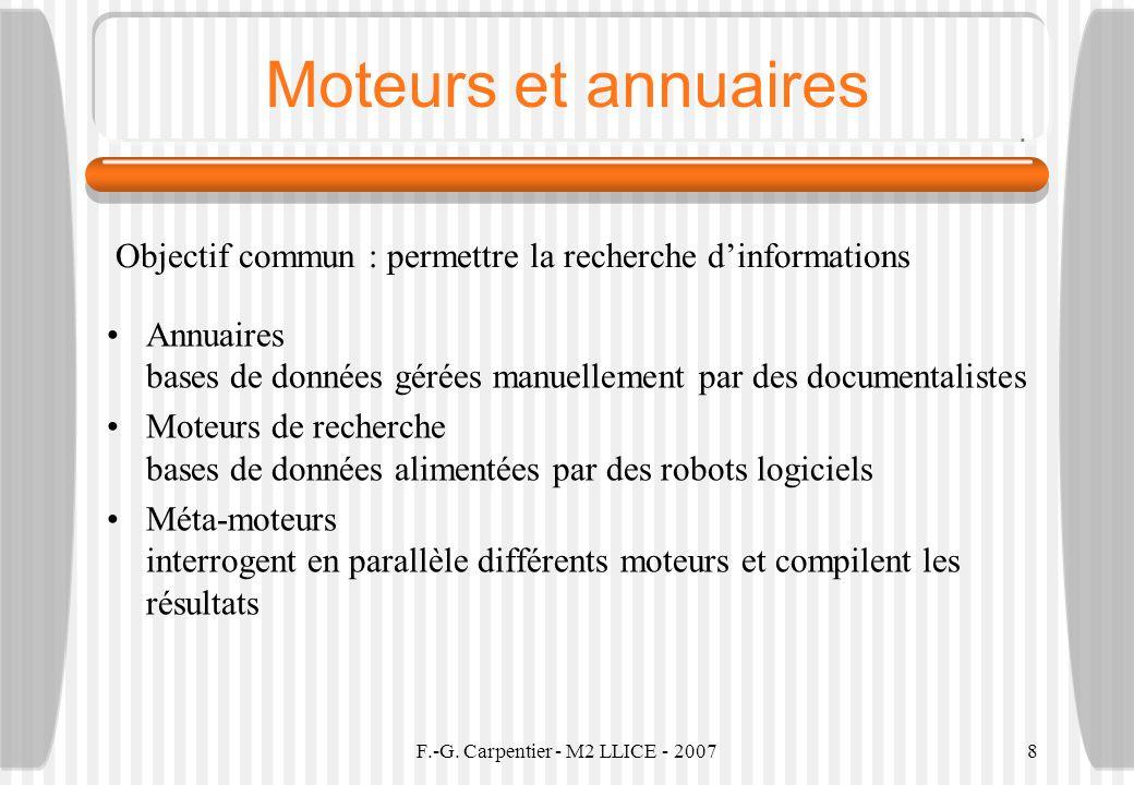 F.-G. Carpentier - M2 LLICE - 20078 Moteurs et annuaires Annuaires bases de données gérées manuellement par des documentalistes Moteurs de recherche b