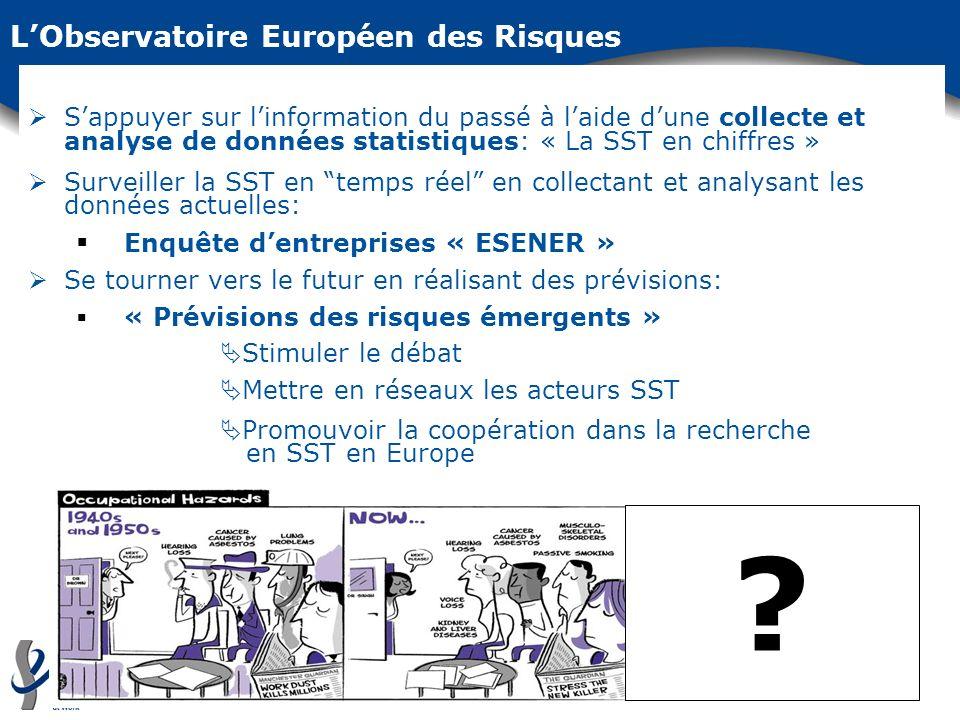 LObservatoire Européen des Risques Sappuyer sur linformation du passé à laide dune collecte et analyse de données statistiques: « La SST en chiffres »
