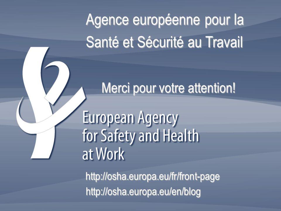 Merci pour votre attention! Merci pour votre attention! http://osha.europa.eu/en/blog http://osha.europa.eu/fr/front-page Agence européenne pour la Sa