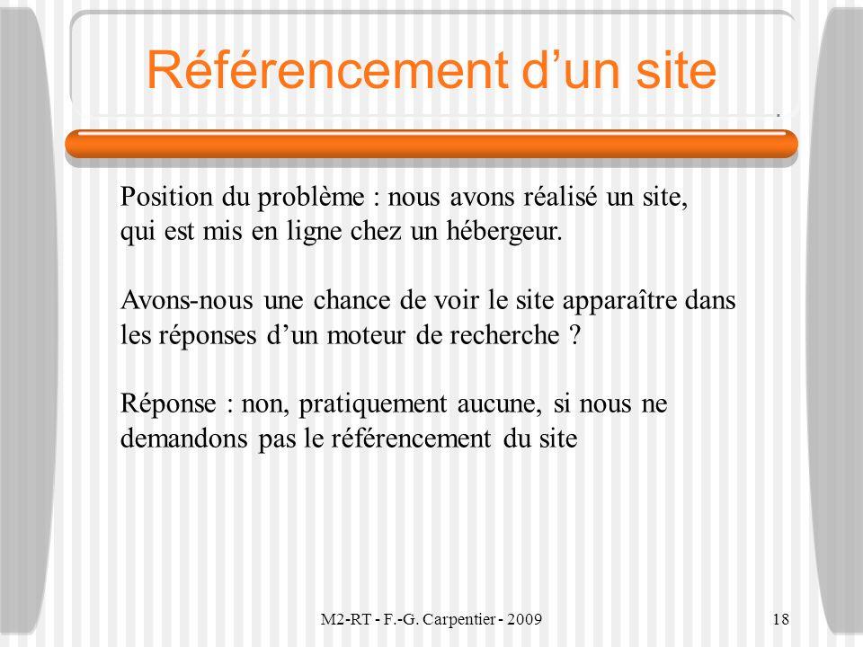 M2-RT - F.-G. Carpentier - 200918 Référencement dun site Position du problème : nous avons réalisé un site, qui est mis en ligne chez un hébergeur. Av