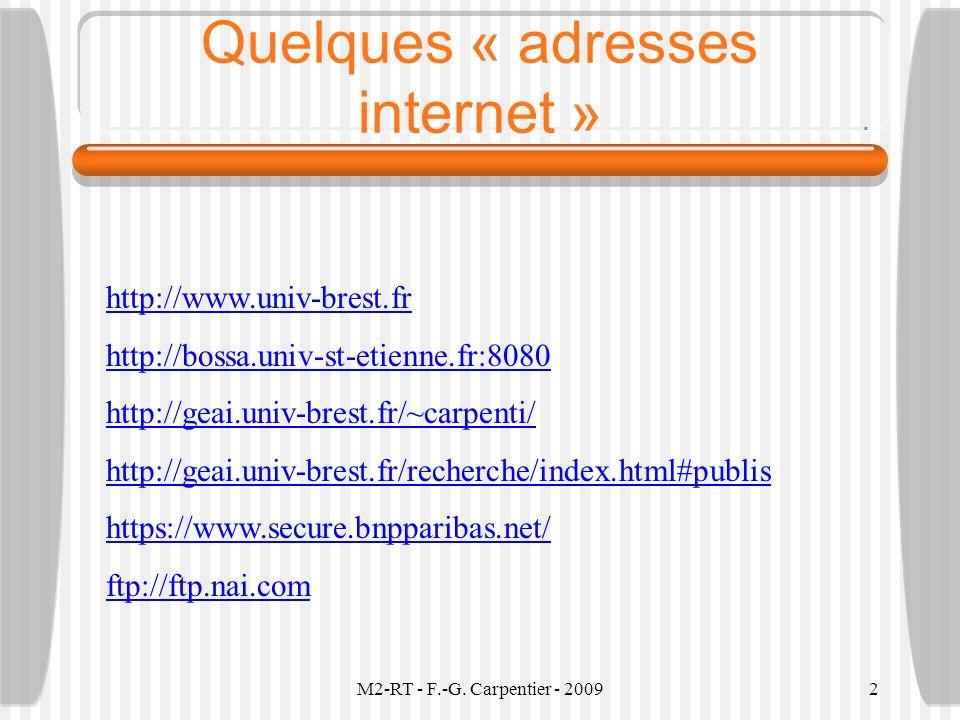 M2-RT - F.-G. Carpentier - 20092 Quelques « adresses internet » http://www.univ-brest.fr http://bossa.univ-st-etienne.fr:8080 http://geai.univ-brest.f