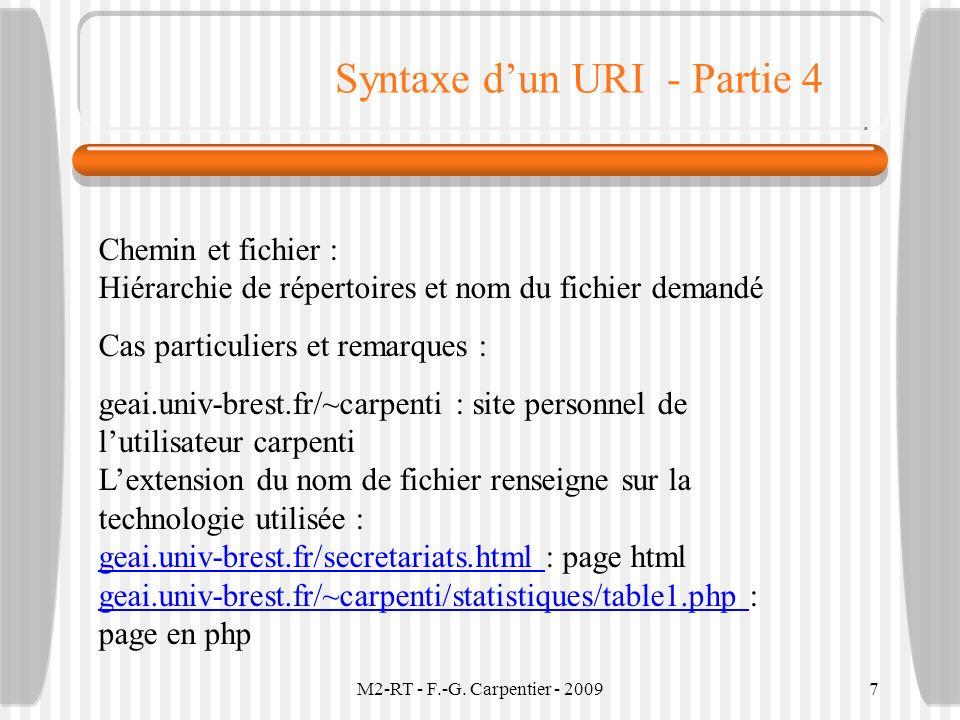 M2-RT - F.-G. Carpentier - 20097 Syntaxe dun URI - Partie 4 Chemin et fichier : Hiérarchie de répertoires et nom du fichier demandé Cas particuliers e