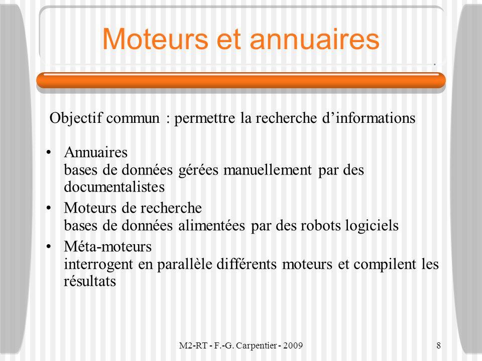 M2-RT - F.-G. Carpentier - 20098 Moteurs et annuaires Annuaires bases de données gérées manuellement par des documentalistes Moteurs de recherche base